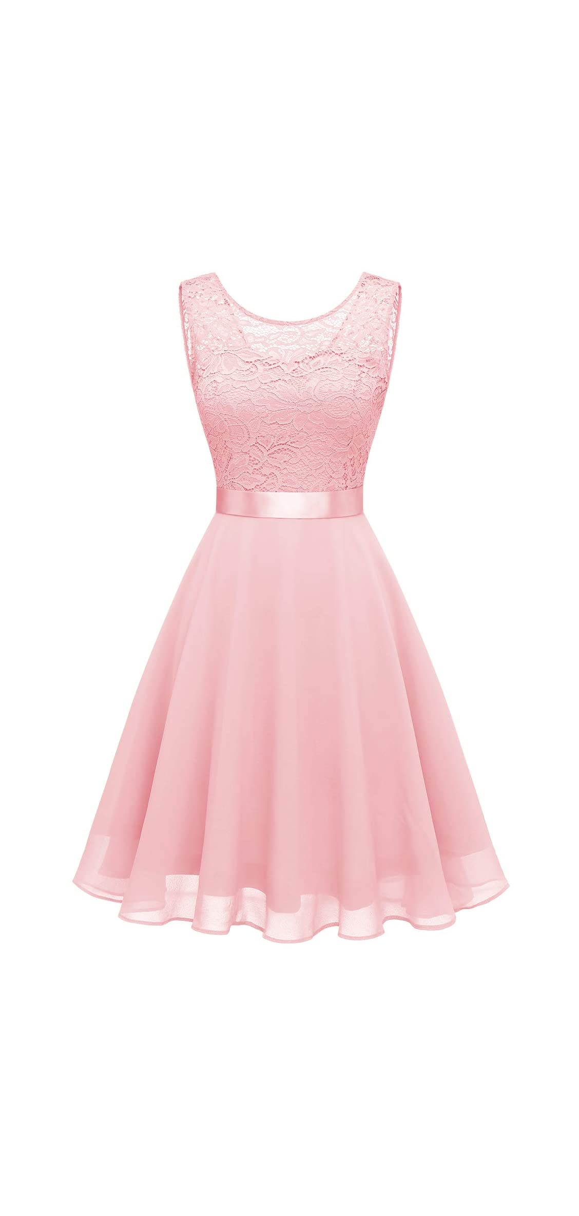 Women's Short Floral Lace Bridesmaid Dress A-line Swing