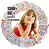 RENOOK Stickers for Kids 1300+, 20 Different Sheets, 3D Puffy Stickers, Scrapbooking, Bullet Journals, Stickers for Adult, Including Animals, and More,Christmas Stickers for Kids.