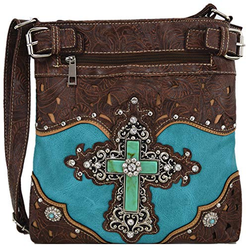 Western Rhinestone Cross Tooled Leather Concealed Carry Purse Crossbody Handbag Women Single Shoulder Bag (Turquoise)