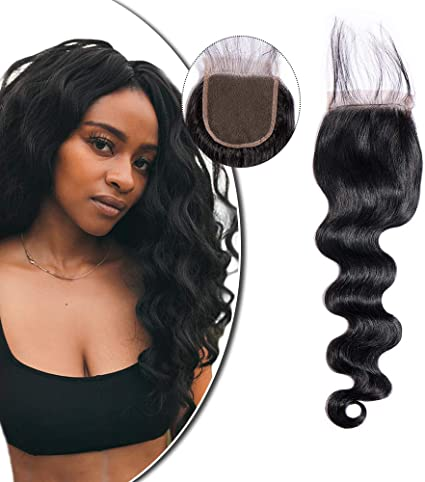 Lace Closure Human Hair Wig 4 4 Inch Weave Hair Extensions Brazilian Hair Unprocessed Human Hair Closure With Baby Hair Body Wave Style Natural Black 10 Long Amazon Co Uk Beauty