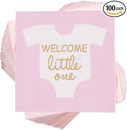Amazon Com Girl Baby Shower Party Supplies Paper Napkins 5 X 5 In Pink 100 Pack Health Personal Care