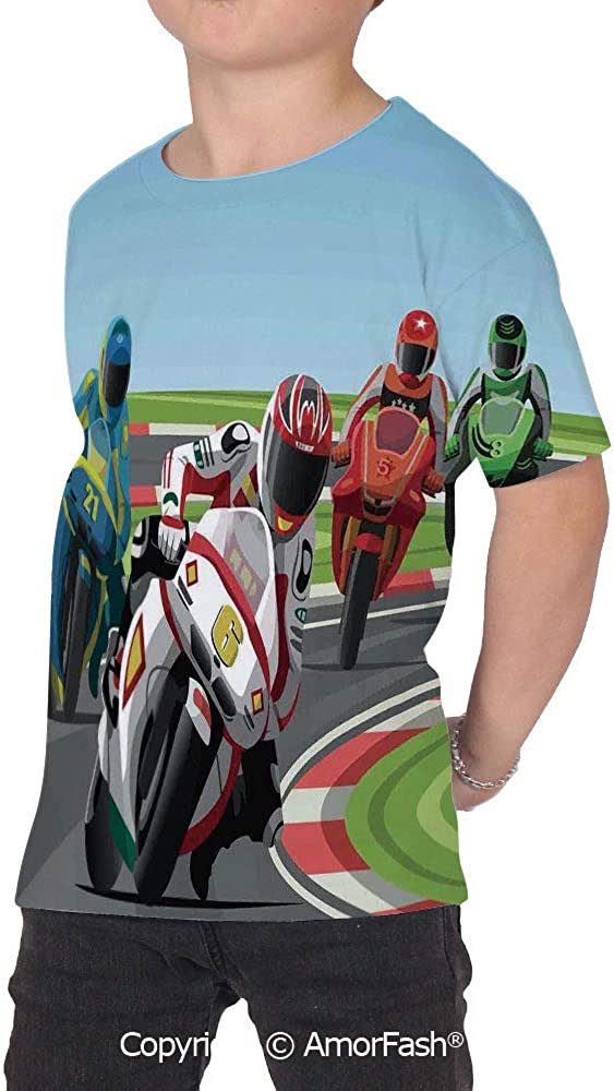 PUTIEN Motorcycle Colorful Boys and Girls Soft Short Sleeve T-Shirt,Professional Motorc