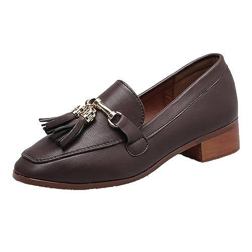 Azbro Mujer Vintage Mocasines Puntera Cuadrada de Tacón Bloque Slip-on con Borlas,marrón EURO39/US8/UK6: Amazon.es: Zapatos y complementos