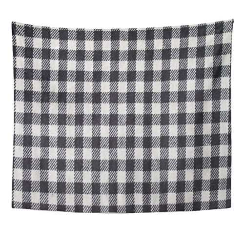 - TOMPOP Tapestry Blue Buffalo Black and White Gingham Checked Knitted Pattern Check Plaid Home Decor Wall Hanging for Living Room Bedroom Dorm 50x60 Inches