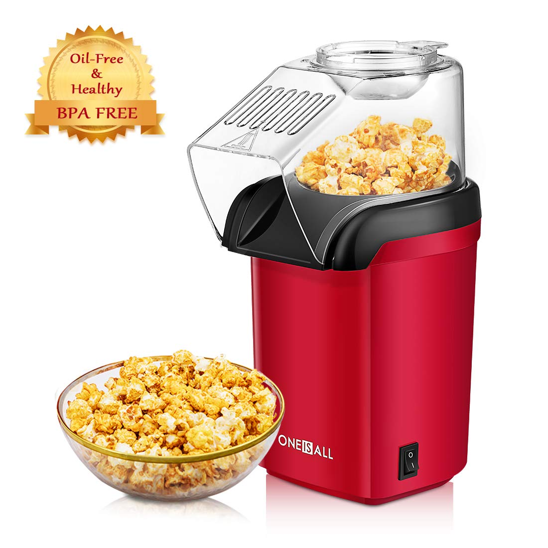 Popcorn Maker, Oneisall 1200W Fast Popcorn Machine, Hot Air Popcorn Popper with Wide Mouth Design, Oil-Free, Including Measuring Cup and Removable Lid, FDA Approved by oneisall