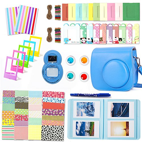 Leebotree Cobalt Blue Camera Accessories Compatible with Fujifilm Instax Mini 9 or Mini 8 8+ Include Case/Album/Selfie Lens/Filters/Wall Hang Frames/Film Frames/Border Stickers/Corner Stickers/Pen