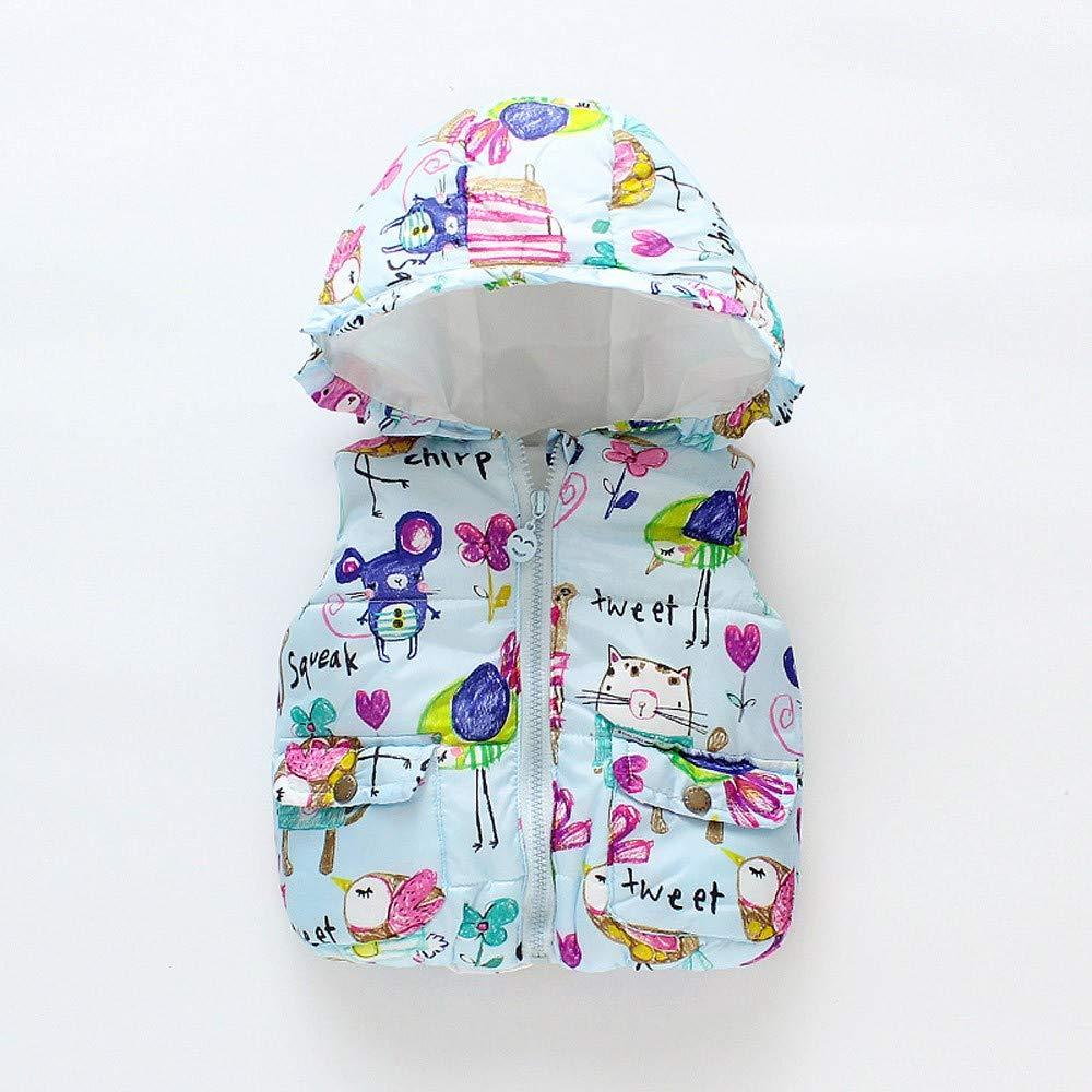 Uryoung Toddler Kids Baby Girls Boys Animal Print Pocket Hooded Warm Waistcoat Tops