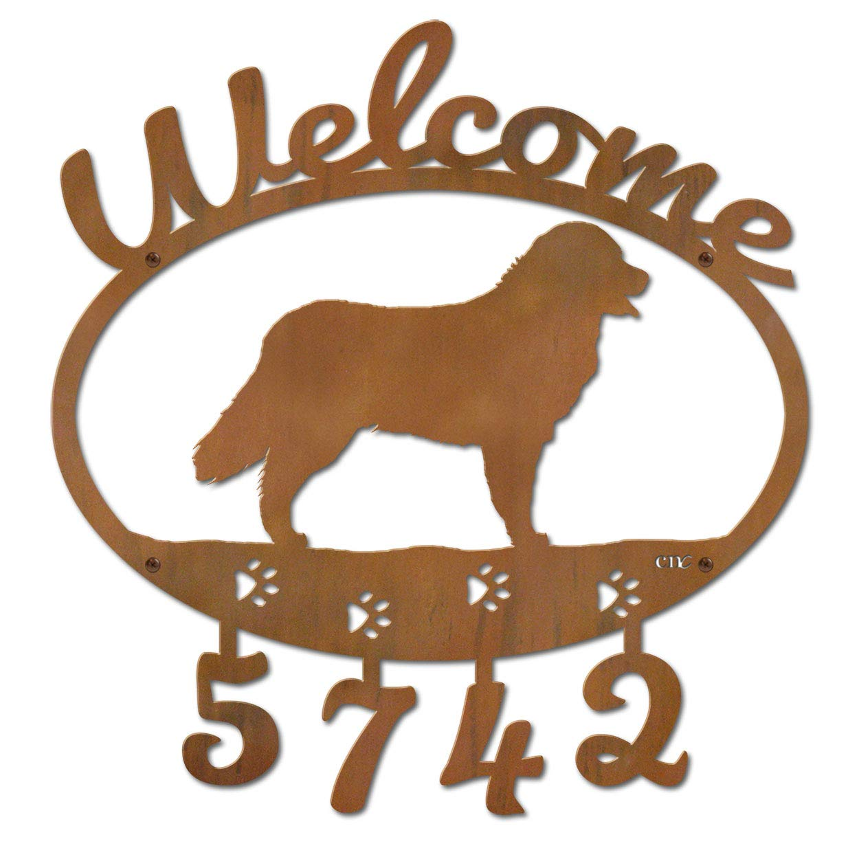 Cold Nose Creations 22in Bernese Mountain Dog Metal Custom Personalized Welcome Address Numbers Sign