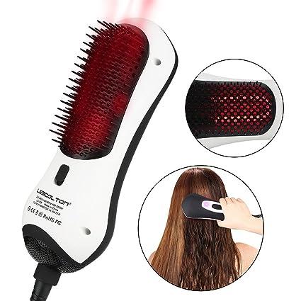 Cepillo de pelo de aire caliente con generador de iones negativos por infrarrojos, rizador giratorio