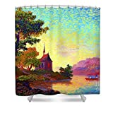 Pixels Shower Curtain (74'' x 71'') ''Beautiful Church, Place Of Welcome''