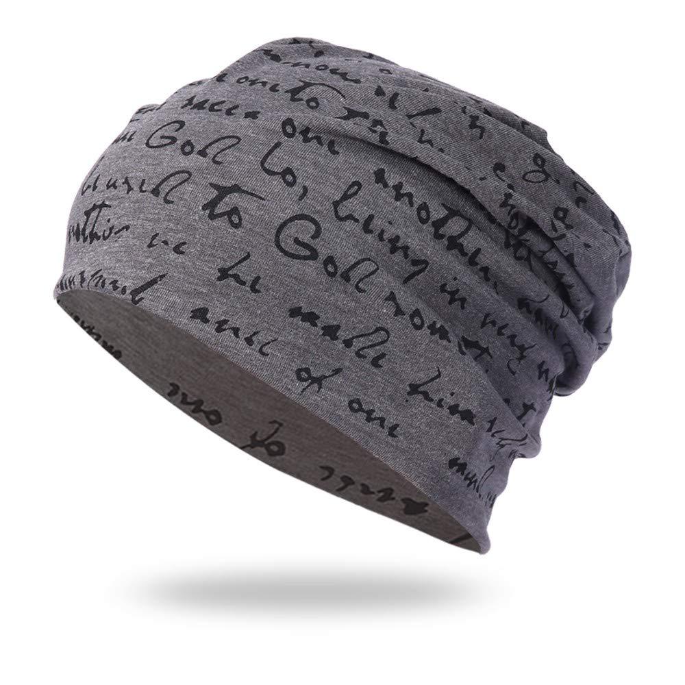 Clearance! Stylish Letter Printed Beanie Cap Lightweight Soft Warm Winter Knit Slouchy Hip Hop Hat Headdress (Dark Gray, Free)
