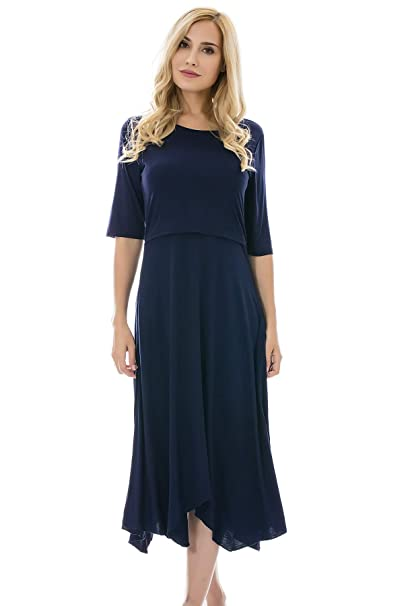 e805e58ecb368 Bearsland Women's Maternity Nursing Dress 1/2 Sleeves Soft Breastfeeding  Dresses Pockets,Blue,