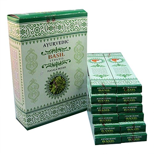 Ayurvedic Basil Masala Incense Sticks Pack of 12 Boxes 15gms Each for Cleansing, Purifying, Good Luck, Wealth, Love, Relaxation, Emotional & Mental Strength