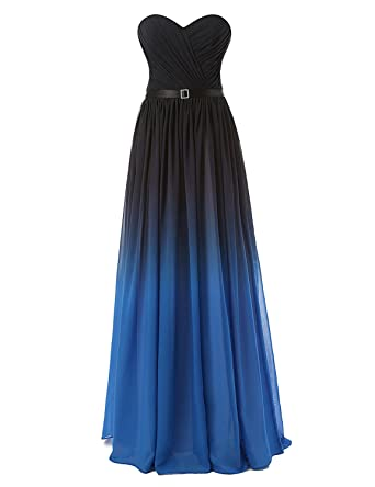Clearbridal Womens Sweetheart Black&Royal Blue Gradient Ramp Prom Dress Evening Dress CSD314BR02