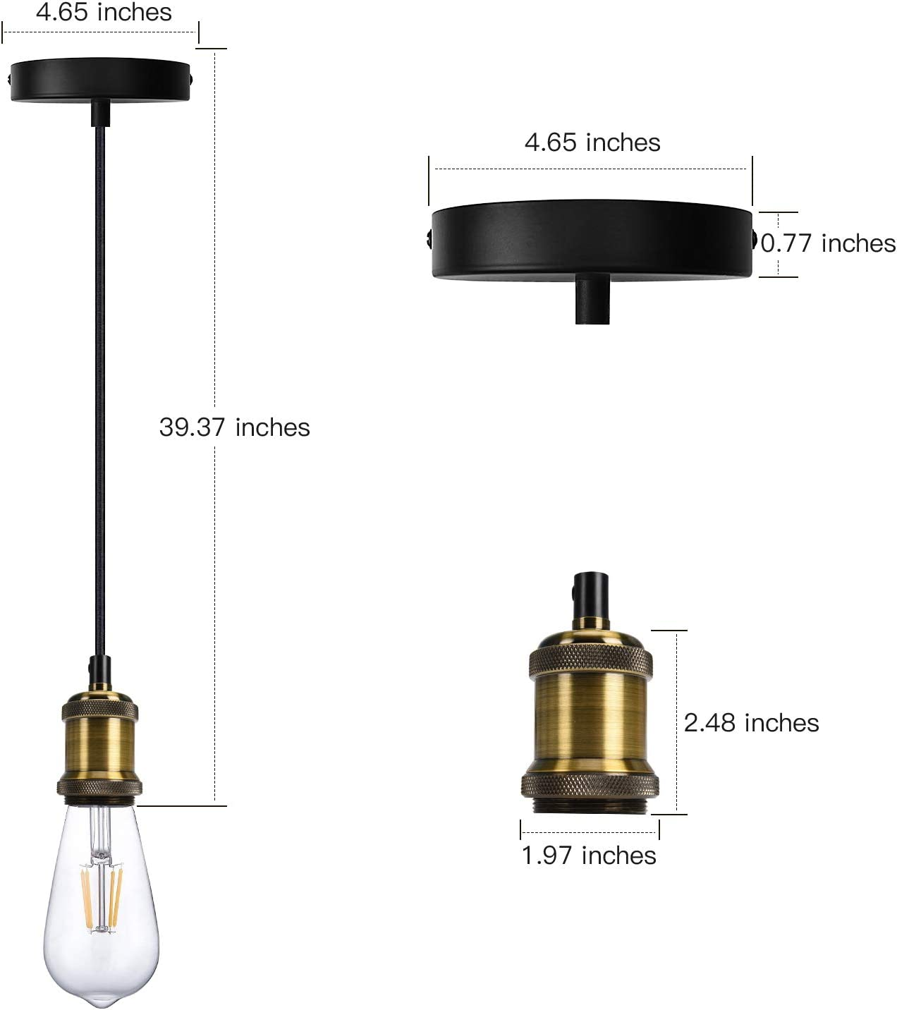 Industrial Mini Pendant Light JACKYLED Single Vintage Socket E26 E27 Lampholder Black Woven Fabric Pendant Light Cord Adjustable Hanging Light Kit - -