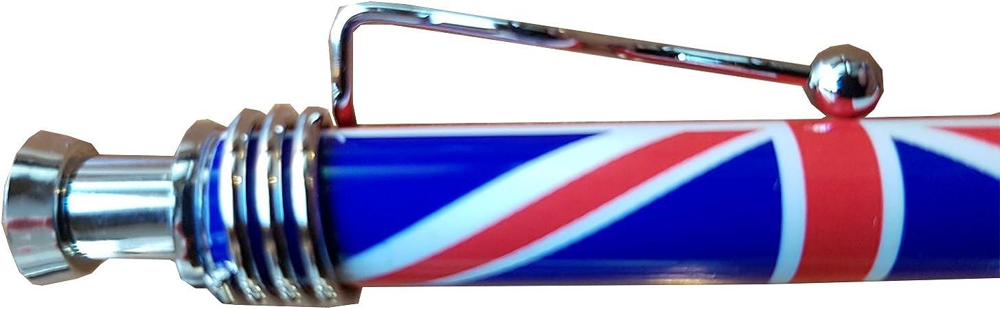 Bolígrafo, diseño de iconos de Londres con la bandera de Reino Unido Souvenir Boligrafo de tinta, con diseño británico - Coleccionable También disponible en color azul, blanco o rosa con iconos de
