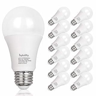 Hykolity 12 Pack 100W Equivalent A19 LED Light Bulb, 16W, 5000K Daylight, 1600LM, E26 Medium Base, Dimmable, UL Listed