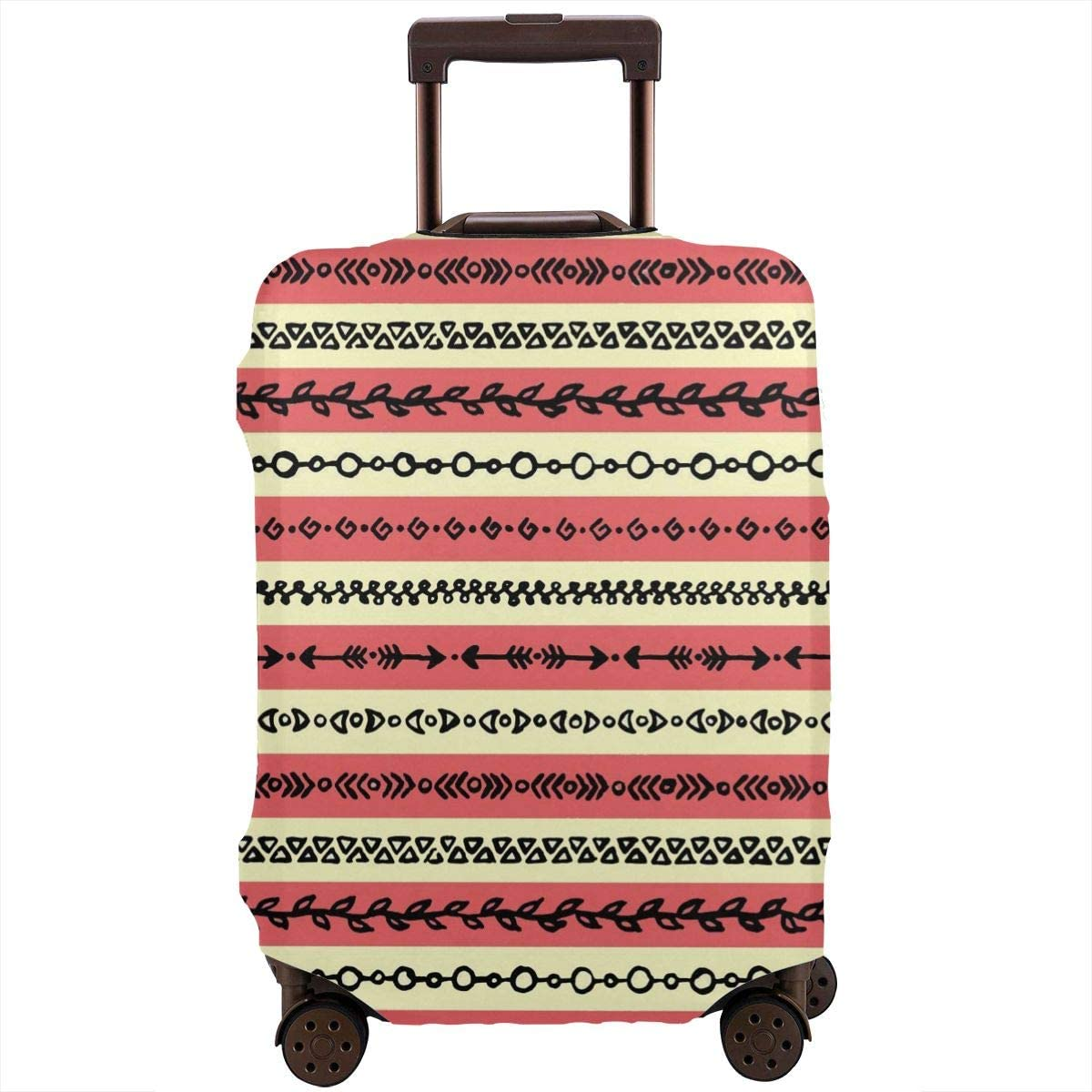 Luggage Cover Abstract Ethnic Tribal Stripe Border Grunge Protective Travel Trunk Case Elastic Luggage Suitcase Protector Cover