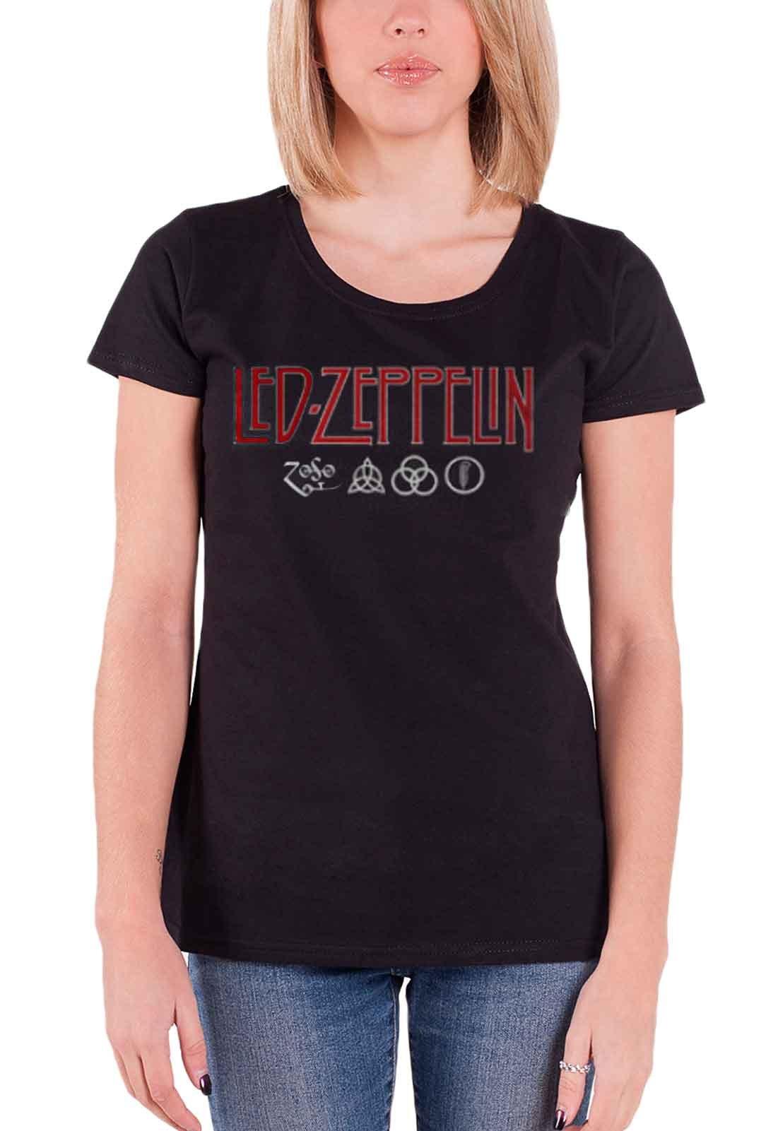 Led Zeppelin T Shirt Logo And Symbol Black