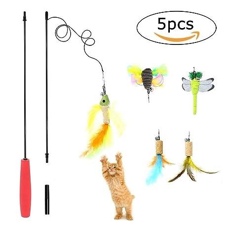 Juguetes para gatos, cuerda para gatos, juguete interactivo para gatos con relleno de plumas