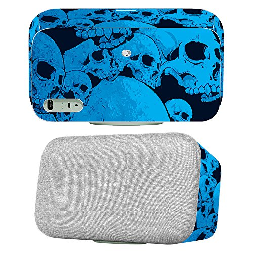 MightySkins Skin for Google Home Max - Blue Skulls | Protective, Durable, and Unique Vinyl Decal wrap Cover | Easy to Apply, Remove, and Change Styles | Made in The USA