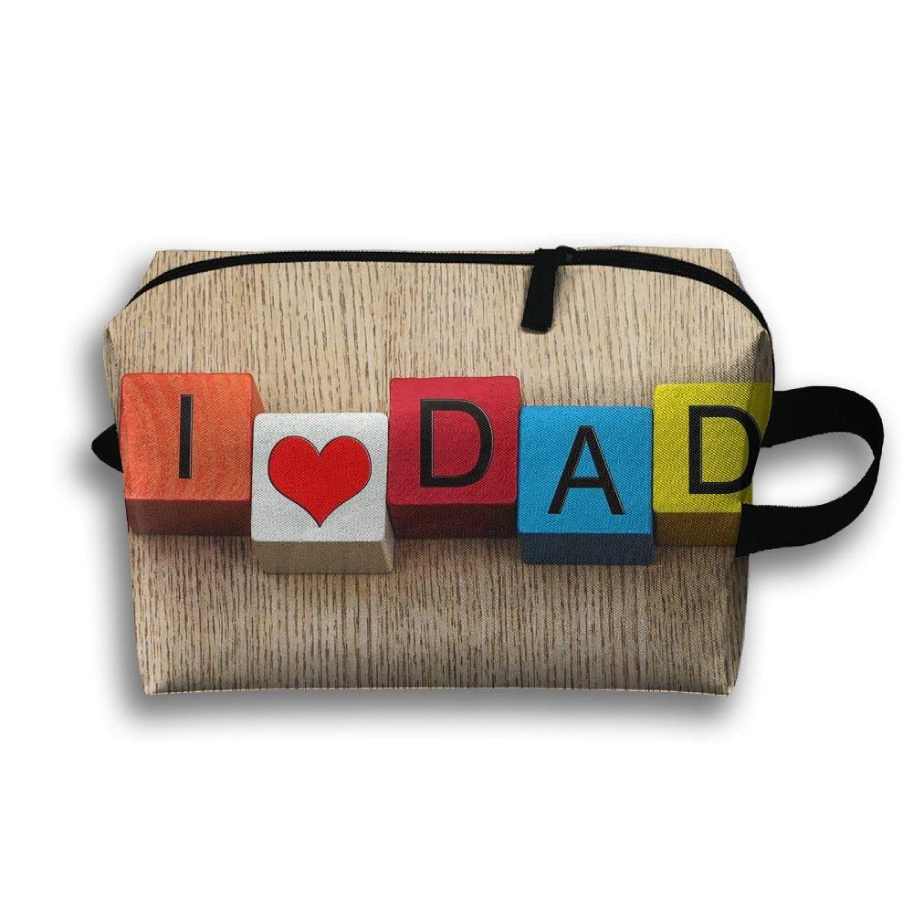 Love Dad Cosmetic Bags Makeup Organizer Bag Pouch Zipper Purse Handbag Clutch Bag