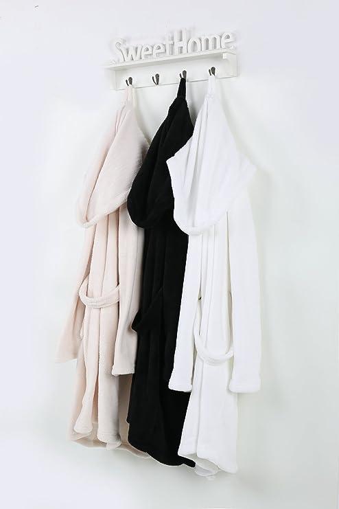 Personalizado Bordado par de albornoz/albornoz – blanco y negro
