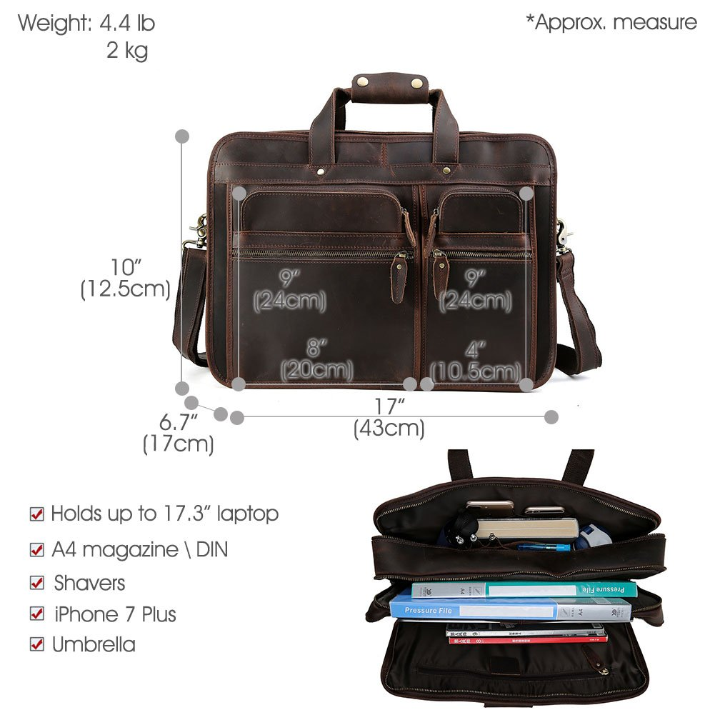 """Tiding Cowhide Leather Vintage Laptop Bag – Durable, Spacious, Stylish Carry On Business Bag – Fits 17.3"""" Laptop – Perfect for The Busy Businessman by Tiding (Image #2)"""
