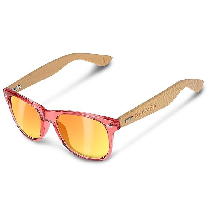 f857fe27938 Navaris UV400 Bamboo Sunglasses - Unisex Retro Wooden Optics Glasses -  Classic Wood Shades Women Men - Eyewear with Case Polarized Lenses   Amazon.co.uk  ...