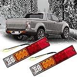 SGQCAR Trailer Light Bar, Red-Amber-White Led 12v LED Tail Light Bars/Turn Signal/Reverse 20 Led Trailer Brake Lights for Trucks, Trailer, RV Camper