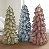 Christmas Trees Candles Ornaments 3 Pack 8″ Table Decoration Sets, Holiday Decor Party Gifts for Her