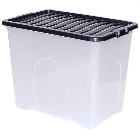 CrazyGadget tamaño grande de plástico transparente caja fuerte contenedor apilable – hecho en Reino Unido.