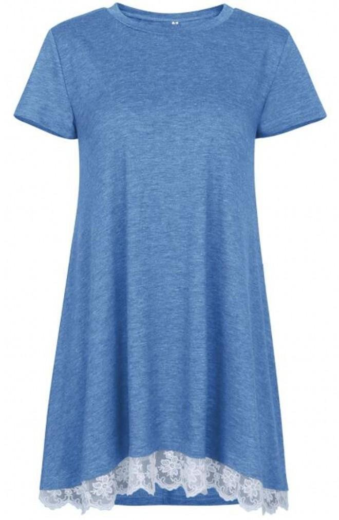 She's Style Women's Cotton Short Sleeve Lace Scoop Neck A-Line Tunic Blouse Tops Blue Size M
