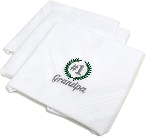 Embroidered with Grandad or any name Personalised Mens White Handkerchiefs