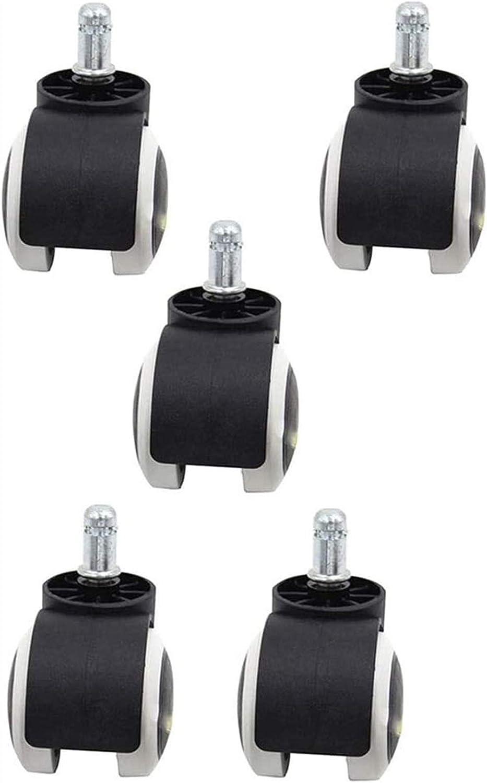 Auoeer 2 Pulgadas de Suelo Protección de Goma de Oficina Silla Ruedas de Fundición (Juego de 5) Estándar Tamaño de vástago - Negro/Blanco (Color: Alambre de inserción) (Color : Insert Wire)