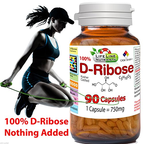 90 Capsules, 750mg, 100% Pure D-Ribose - Free Shipping