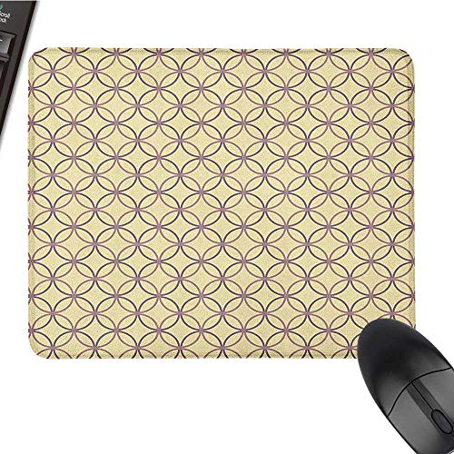 (Personalized Mouse pad Geometric,Ethnic Inspirations Intertwined Circles Geometric Vintage Elements, Pale Yellow Mauve Lilac pad for Mouse 9.8 x11.8)