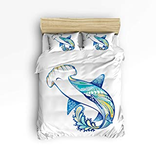 YEHO Art Gallery Beautiful Flamingo with Plant 3 Piece Duvet Cover Set Beddding Set,Queen Size Luxury Soft Bed Set Bedroom Home Decor,Include 1 Comforter Cover with 2 Pillow Cases