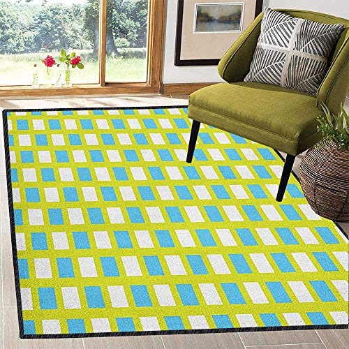 Geometric Abstract Design Area Rug,Abstract Square Pattern in Fresh Tones Geometric Elements Ornament Non Slip Absorbent Super Cozy Yellow Green Blue White 59