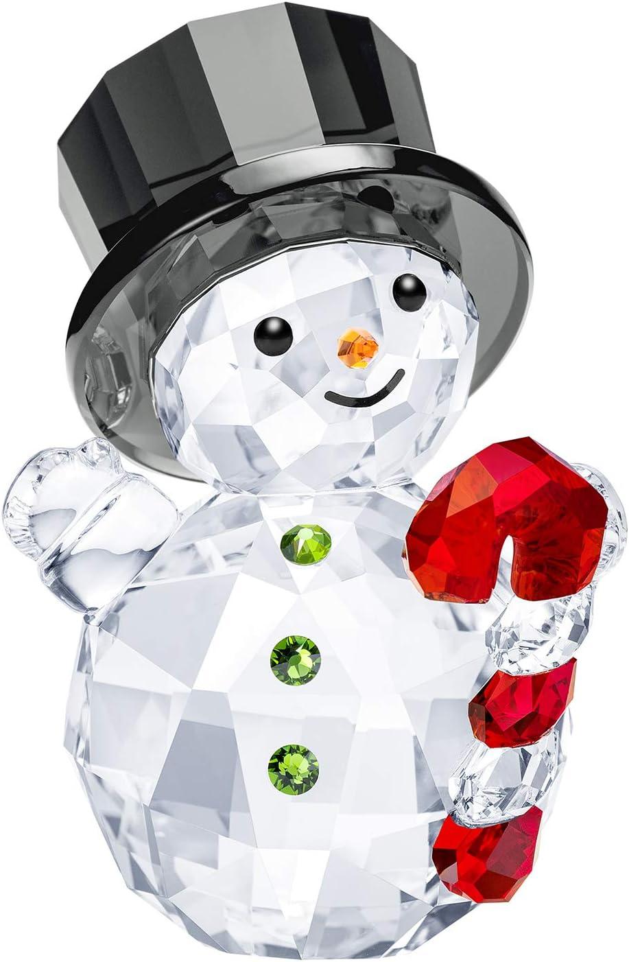 SWAROVSKI Authentic Merry and Festive Joyful Figurines Snowman with Candy Cane