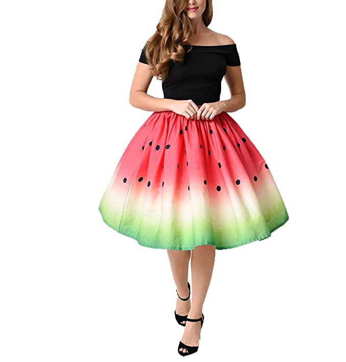 EkarLam Women's Elastic Waistband Vintage Retro Casual Summer Swing Skirts Watermelon US L(Tag XL)