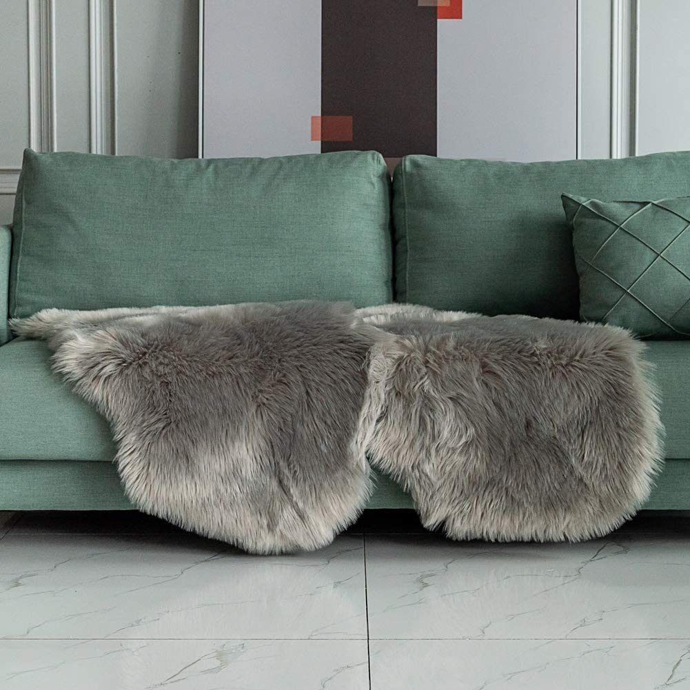 Carvapet 2 Pieces Soft Fluffy Faux Fur Chair Couch Cover Plush Sheepskin Area Rug Bedroom Living Room 2 x 3 Feet,Gray