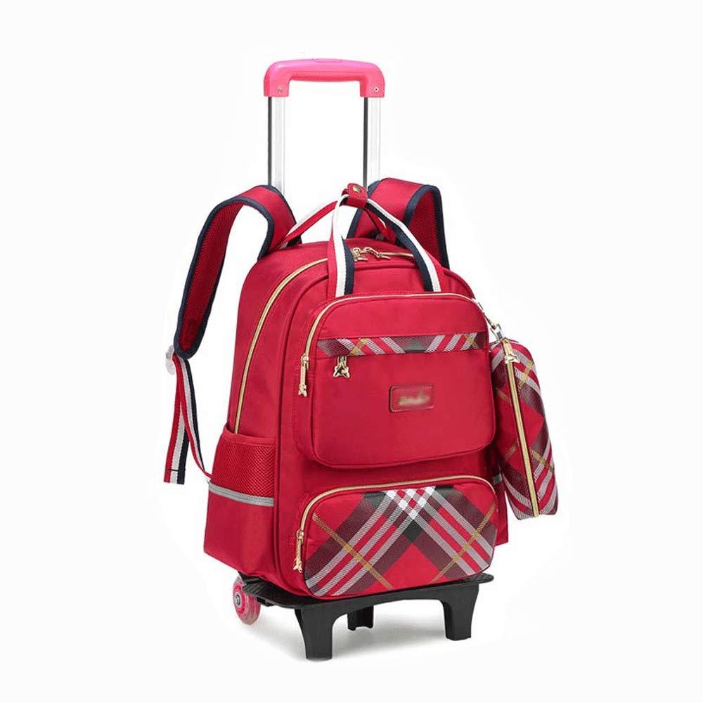 HUIFA 子供のトロリーバッグバックパック鉛筆ケース付き2つのホイール取り外し可能な折りたたみレバーバックパック 。 (色 : Red)  Red B07MZ71TVH