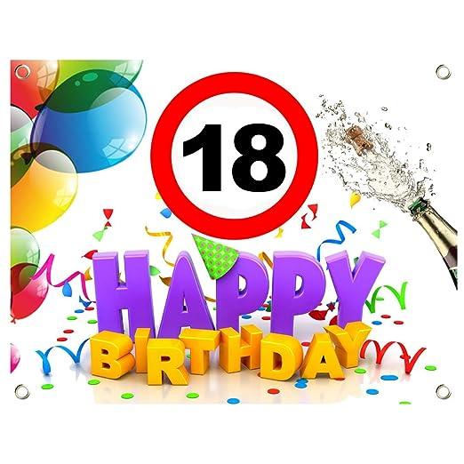SHIRT-TO-GO Cartel para 18.º cumpleaños de lona PVC (1,30 x ...