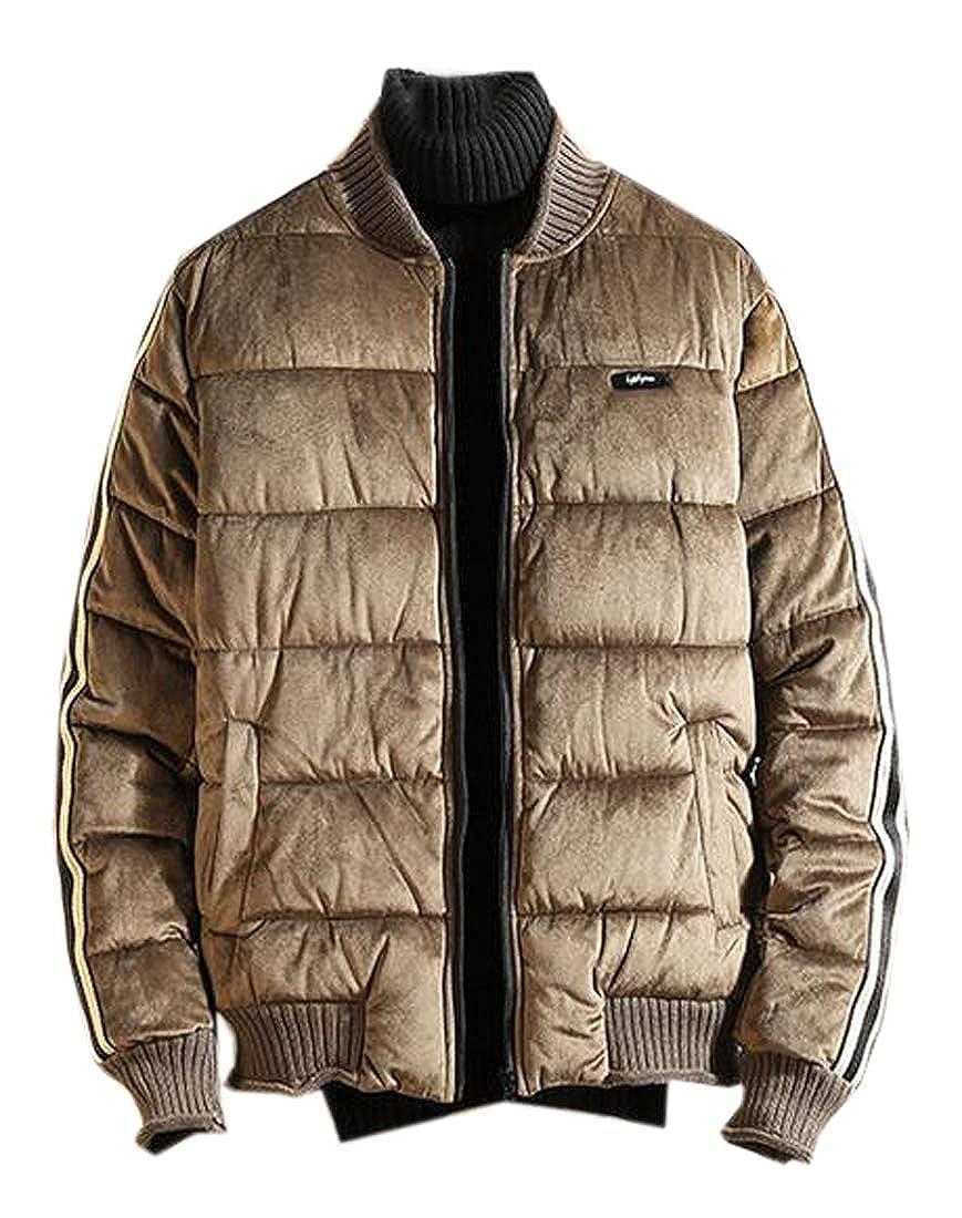 Fubotevic Mens Thicker Winter Relaxed Thermal Velvet Down Coat Jacket Overcoat