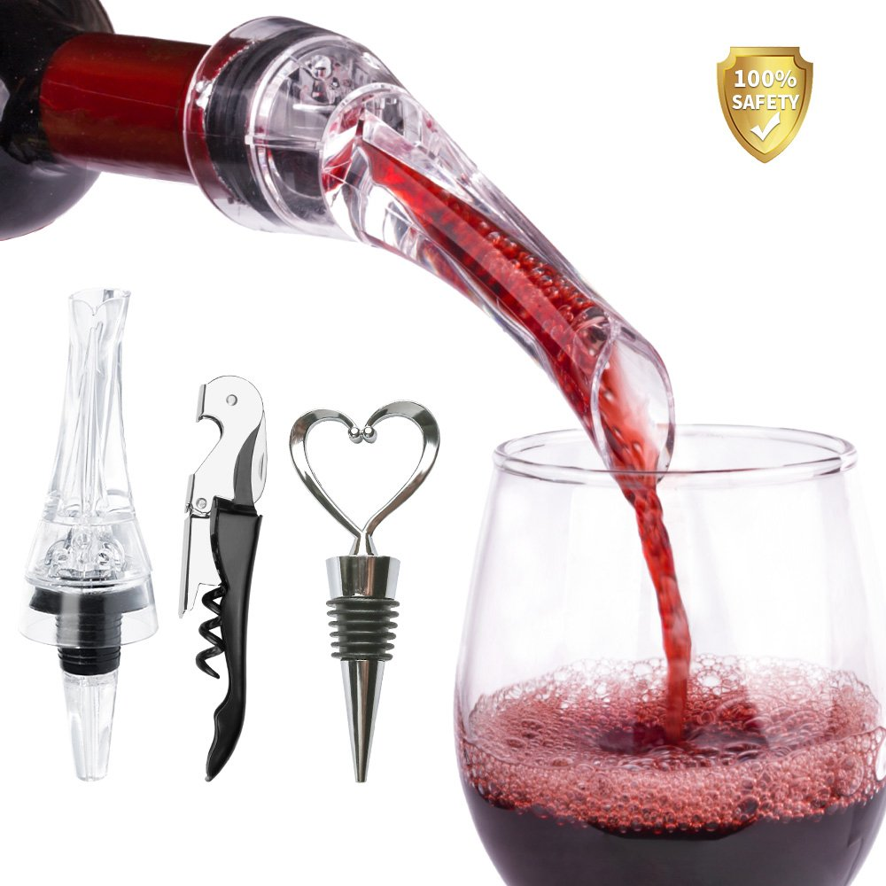 Wine Aerator Pourer-Buy 1 Get 3 (Wine Pourer Wine Opener Wine Stopper)-Aerating Pourer and Decanter Spout- with Gift Box