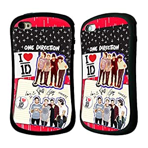 Official One Direction 1D Lined Locker Art Group Hybrid Rubber Case Cover for Apple iPhone 4 4S