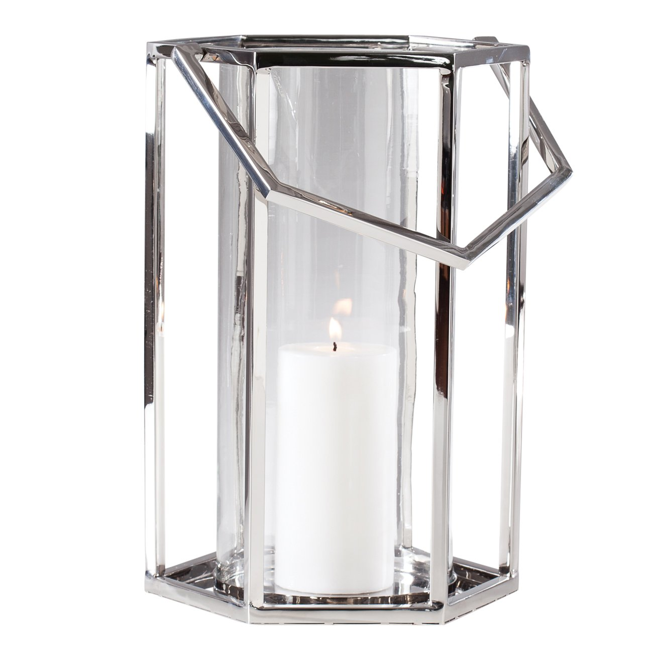 Torre & Tagus 902243B Union Stainless Steel Hexagon Hurricane Lantern - Tall
