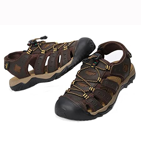 db08f786171 Image Unavailable. Image not available for. Colour  SHANGXIAN Mens Beach  Walking Sandals Real Leather Slipper Closed-Toe Trekking Shoes ...