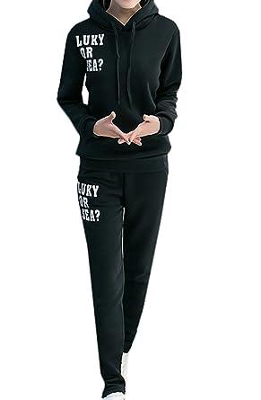 Scothen Damen Trainingsanzug Drucken Sweatshirt Rundhals